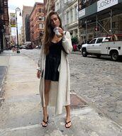 sweater,cardigan,black sandals,black skirt,mini skirt,black top