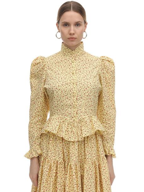 BATSHEVA Grace Printed Cotton Poplin Blouse in yellow
