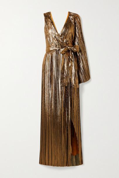 SemSem - One-sleeve Plissé Silk-blend Lamé Wrap Gown - Gold