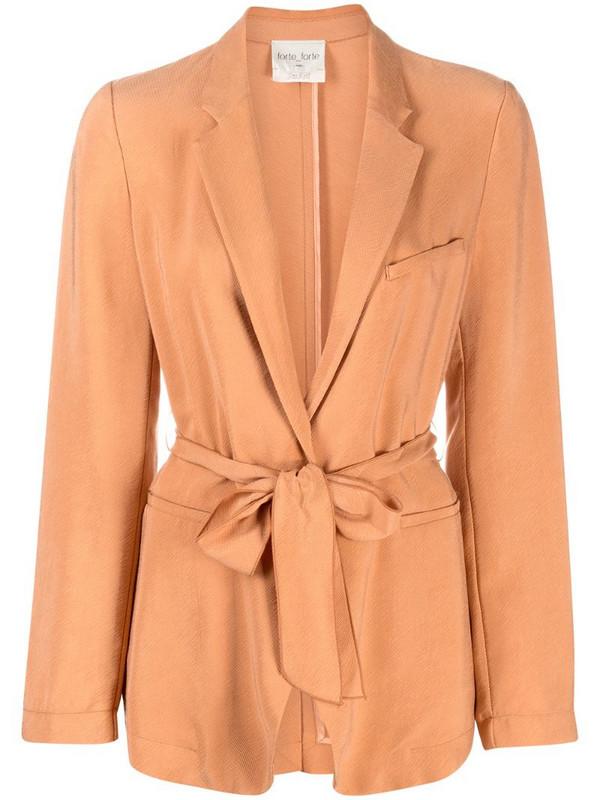 Forte Forte tie-fastening single-breasted blazer in orange