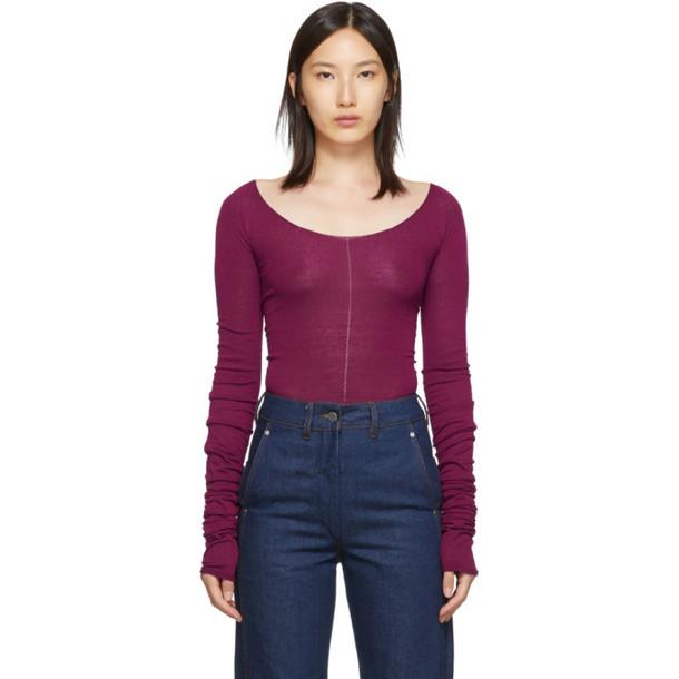 Lemaire Pink Bare Shoulder Second Skin Sweater