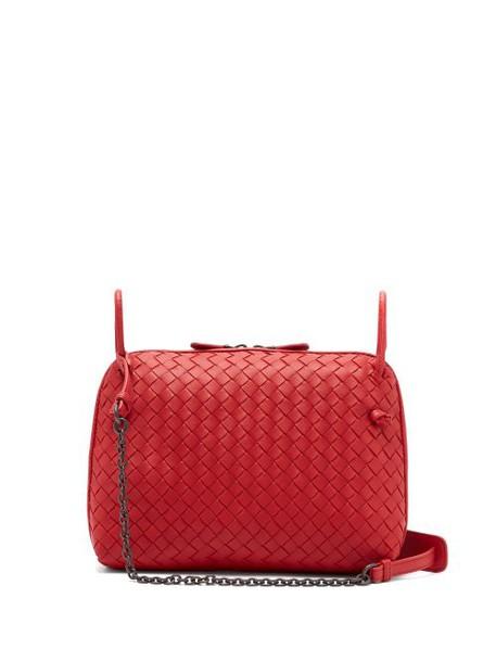 Bottega Veneta - Nodini Intrecciato Leather Cross Body Bag - Womens - Red