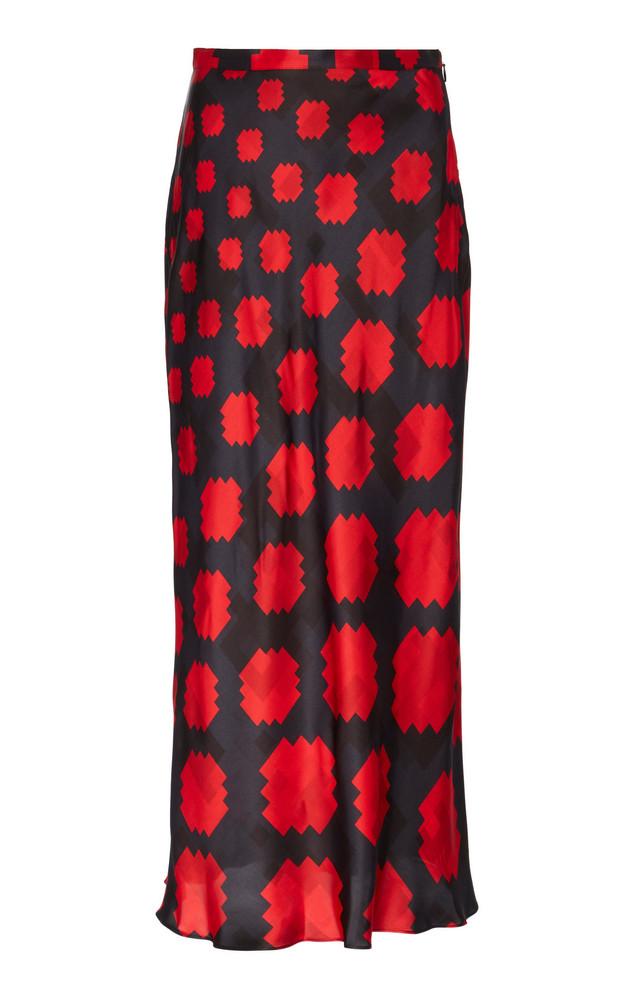 Marni Printed Satin Midi Skirt Size: 40 in black