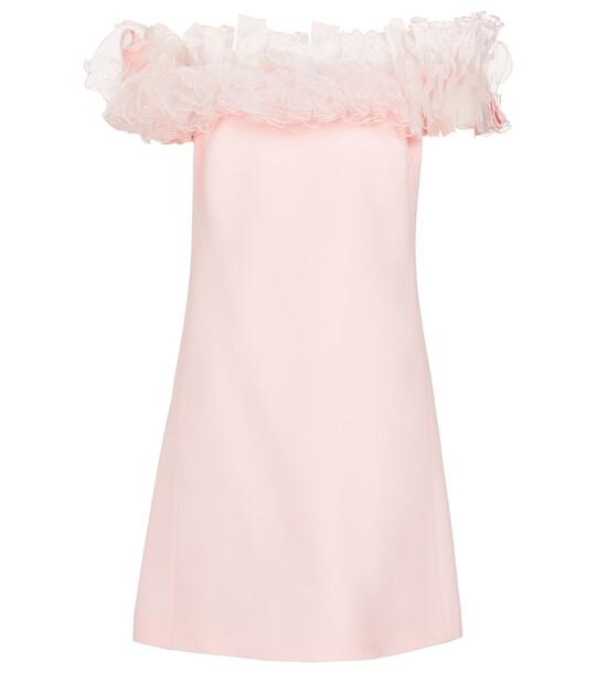 GIAMBATTISTA VALLI Tulle-trimmed off-shoulder cady minidress in pink