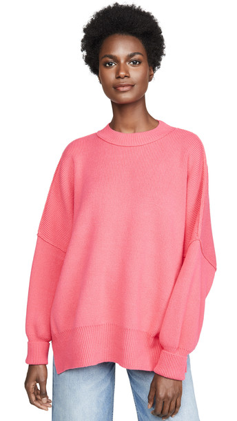 Free People Easy Street Tunic Sweater in pink