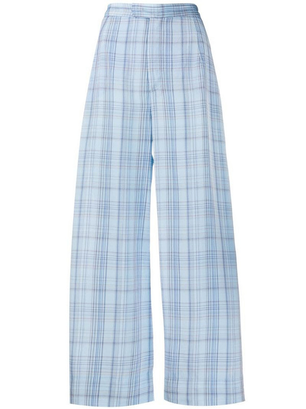 Jejia check-print cropped trousers in blue
