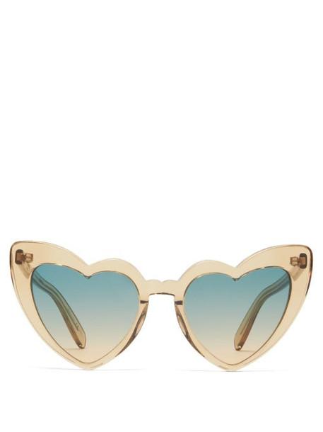 Saint Laurent - Loulou Heart-shaped Acetate Sunglasses - Womens - Yellow Multi