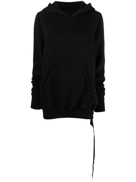 Rick Owens DRKSHDW reverse-drawstring cotton hoodie in black