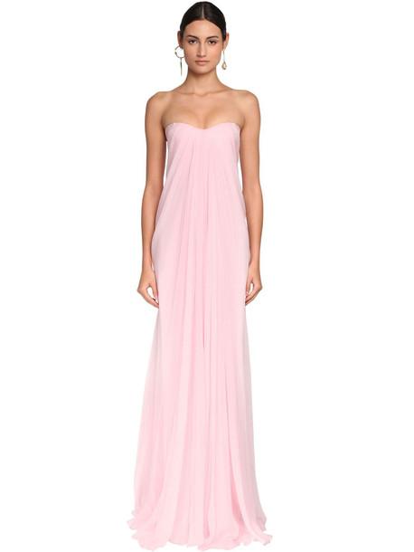 ALEXANDER MCQUEEN Draped Silk Chiffon Long Dress in pink