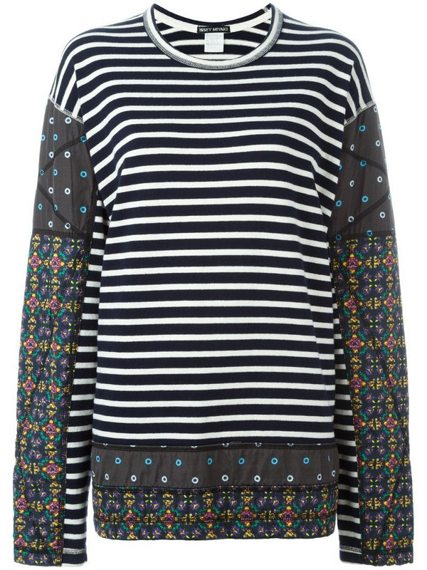 Issey Miyake Pre-Owned striped patchwork jumper in blue