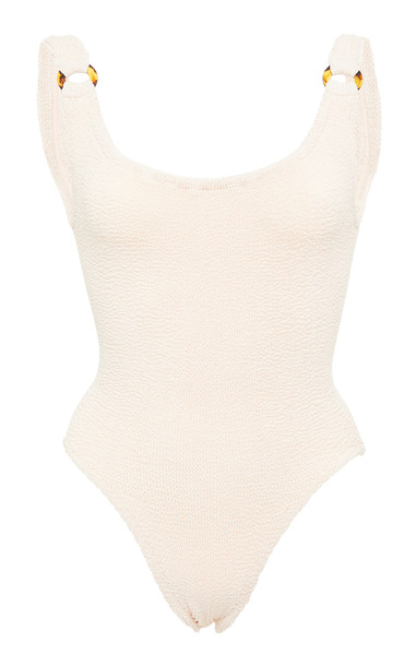 Hunza G Domino Seersucker Swimsuit in neutral