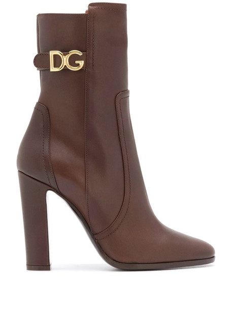 Dolce & Gabbana logo-plaque 110mm calf-length boots in brown