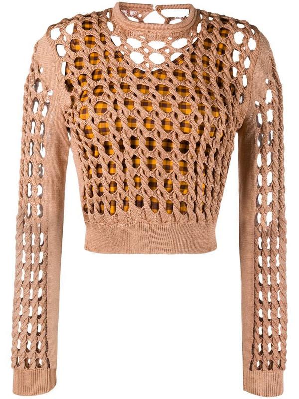 Fendi interlock knit cropped jumper in brown