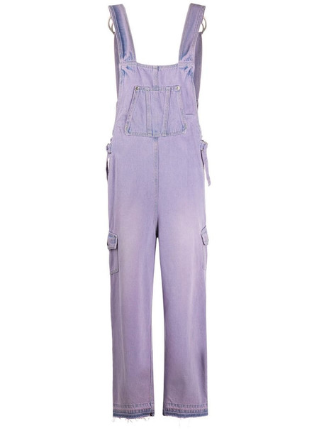SJYP color washed overall jeans in purple