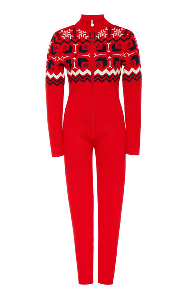 Perfect Moment Fair Isle Knitted Wool Jumpsuit Size: XS in red
