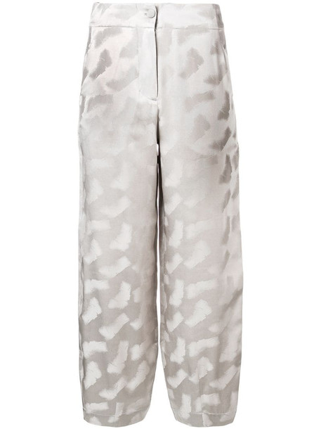 Emporio Armani loose fit cropped trousers in neutrals