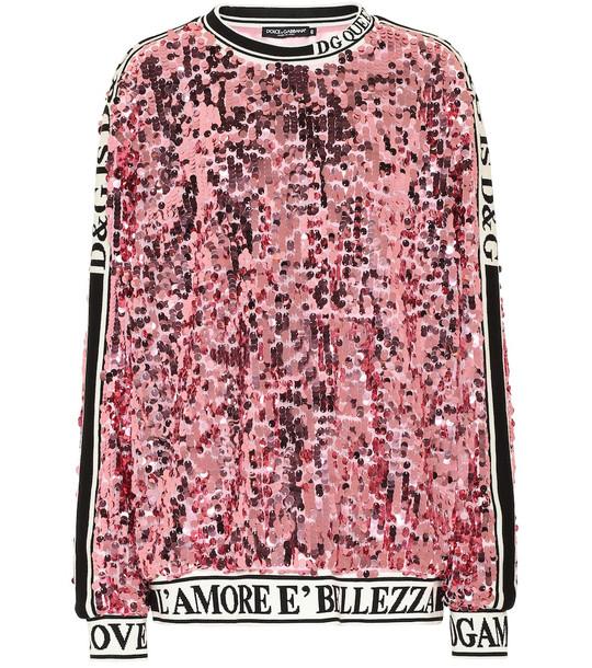 Dolce & Gabbana Sequined sweatshirt in pink