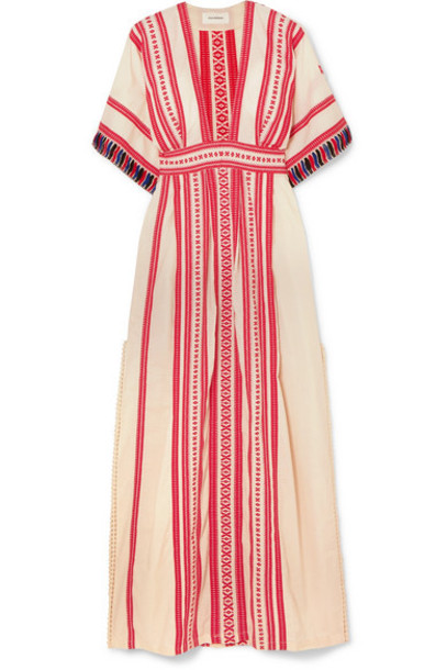 Celia Dragouni - Picot-trimmed Embroidered Cotton Maxi Dress in red