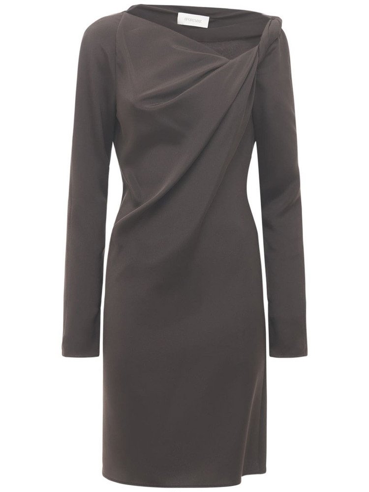 SPORTMAX Jessy Draped Silk Cady Knee Length Dress in grey
