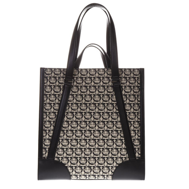 Salvatore Ferragamo Beige And Black Monogram Print Tote Bag In Leather