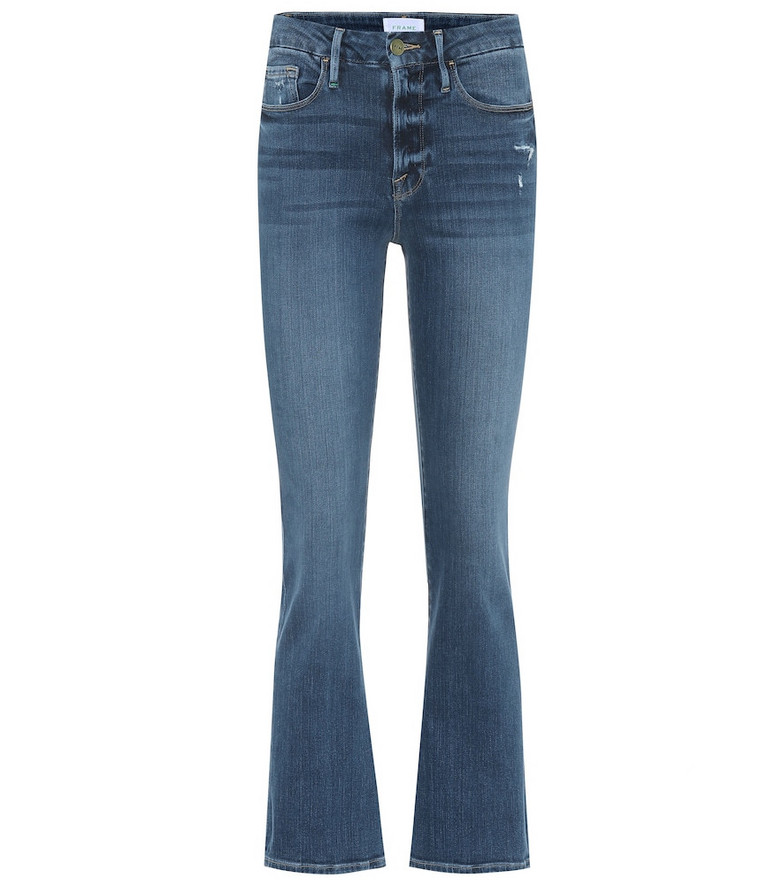 Frame Le Crop Mini mid-rise bootcut jeans in blue