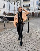 pants,black leggings,leather leggings,black boots,cropped jacket,leather jacket,black turtleneck top,crossbody bag