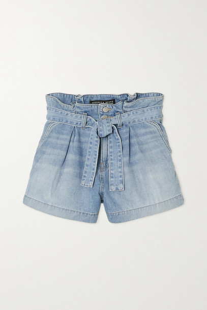 Veronica Beard - Nori Belted Denim Shorts - Blue