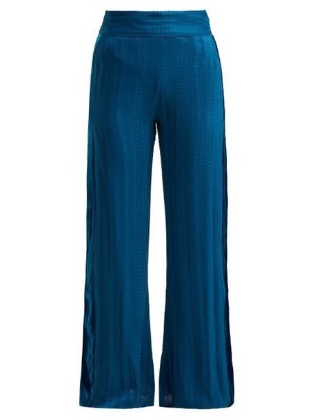 Zeus + Dione Zeus + Dione - Alcyone Side Stripe Silk Blend Trousers - Womens - Mid Blue