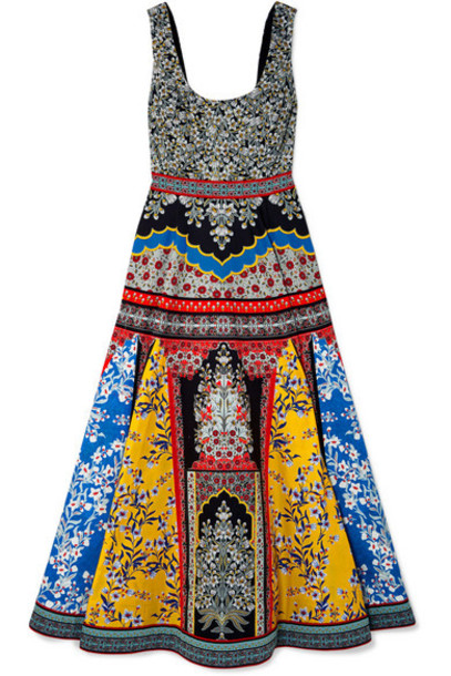 Alice + Olivia Alice Olivia - Arya Printed Cotton-blend Maxi Dress - Blue