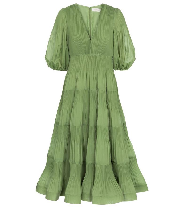 Zimmermann Pleated midi dress in green
