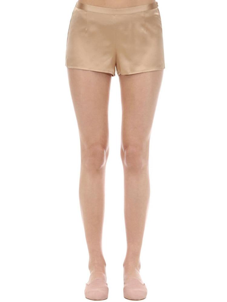 LA PERLA Silk Shorts in beige