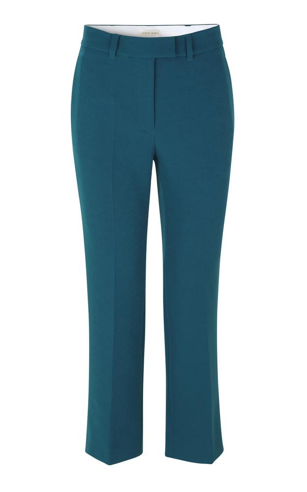 Stine Goya Brenda Cropped Crepe Straight-Leg Pants Size: S in blue