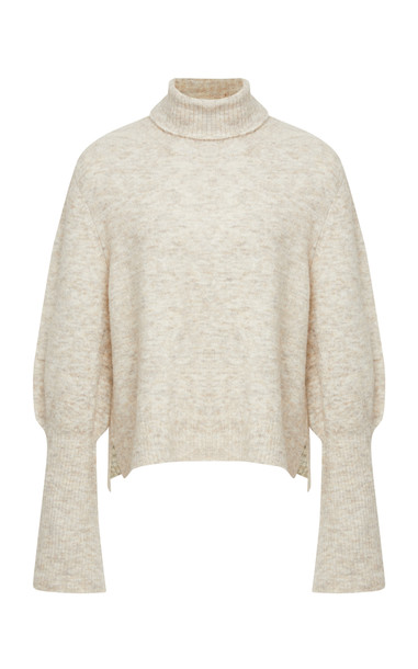 FRAME Rib-Knit Turtleneck Sweater Size: M in neutral