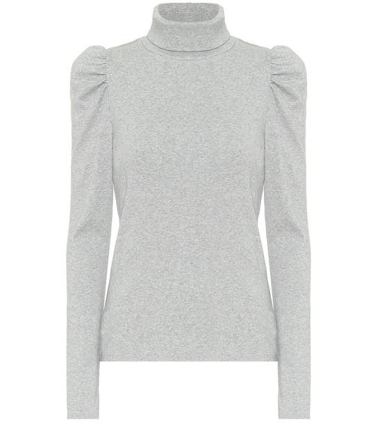 Veronica Beard Roll-neck stretch-cotton sweater in grey