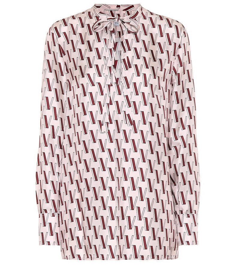 Valentino Logo silk blouse in pink