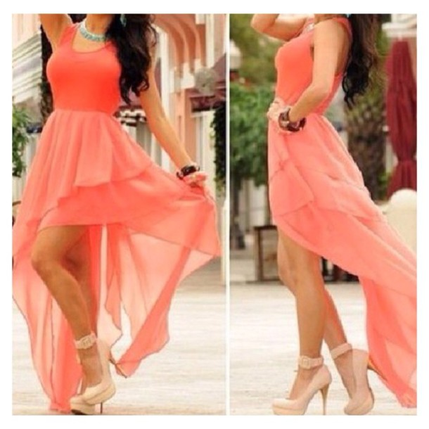 peach color dress matching shoes