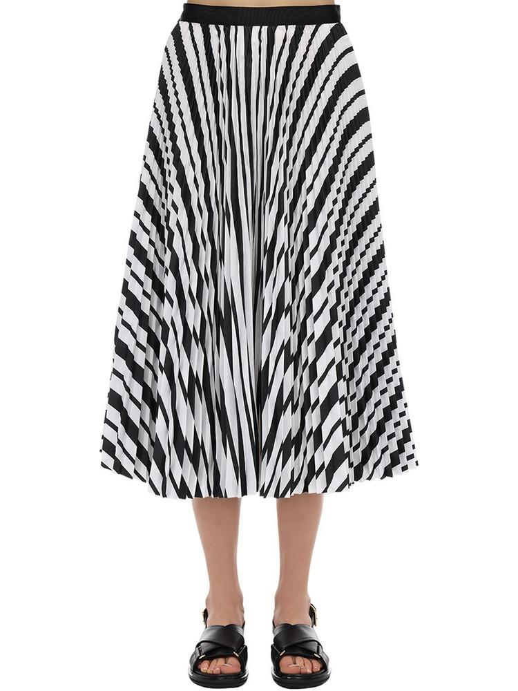 SACAI Striped Cotton Blend Skirt in black / white
