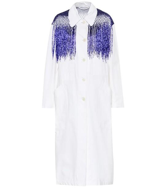 Dries Van Noten Beaded cotton trench coat in white