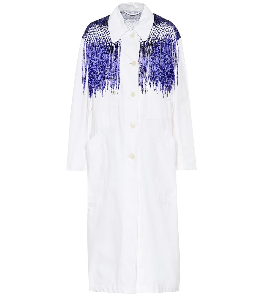Dries Van Noten Beaded cotton trench coat in white