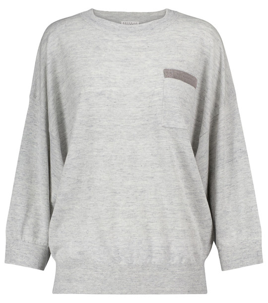 Brunello Cucinelli Linen and cotton sweater in grey