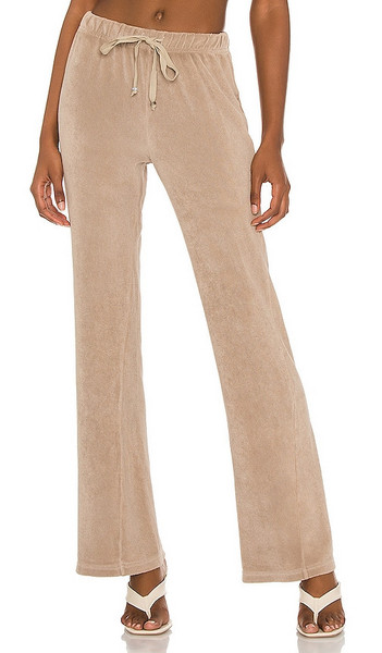 DONNI. DONNI. Terry Wide Leg Pant in Beige in stone