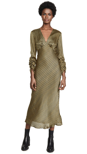 The Fifth Label Goldie Check Long Sleeve Midi Dress in black / yellow