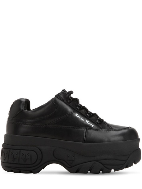 NAKED WOLFE Sporty Leather Platform Sneakers in black