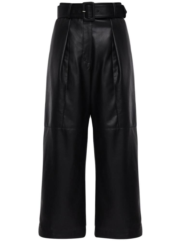 SELF-PORTRAIT Faux Leather Crop Pants in black