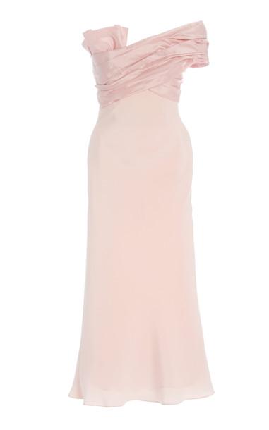 Cushnie Off-The-Shoulder Silk Pencil Dress in pink