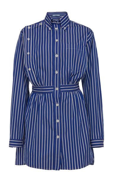 Prada Belted Striped Cotton Button Down Shirt