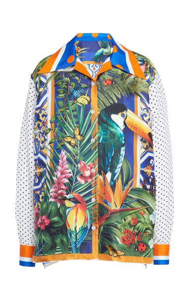 Dolce & Gabbana Contrast Sleeve Printed Shirt Size: 36 in print