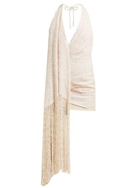 Jacquemus - Valoria Halterneck Fringed Tweed Dress - Womens - Beige