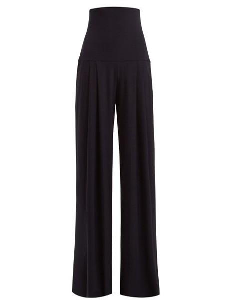 Norma Kamali - High Rise Pleated Wide Leg Trousers - Womens - Navy