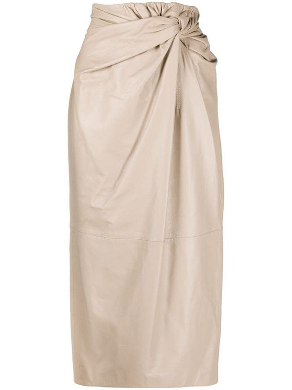 16Arlington drape-waist midi skirt in black